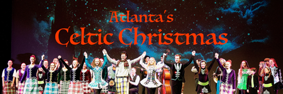 Image of singers and dancers with raised hands at curtain call for Atlanta's Celtic Christmas